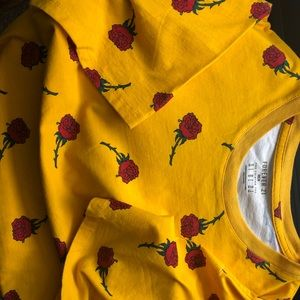 Forever 21 Canary Yellow rose printed t-shirt